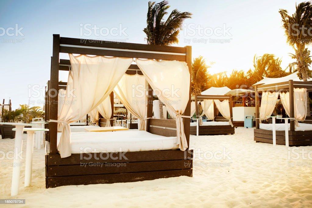 Tanning Chaises in Playa del Carmen stock photo