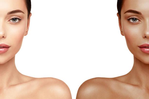 looien huid gezicht portret. vrouw voor en na tan spray - gebruind stockfoto's en -beelden