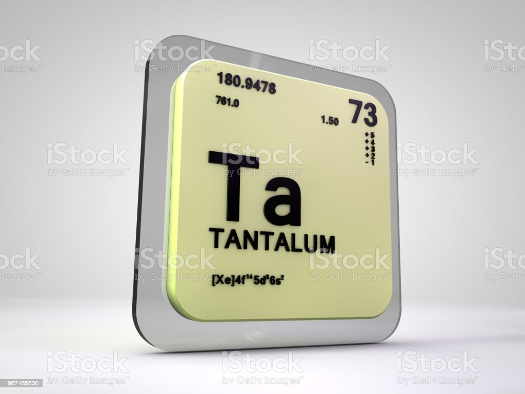 Tantalum Ta Chemical Element Periodic Table 3d Render Stock Photo