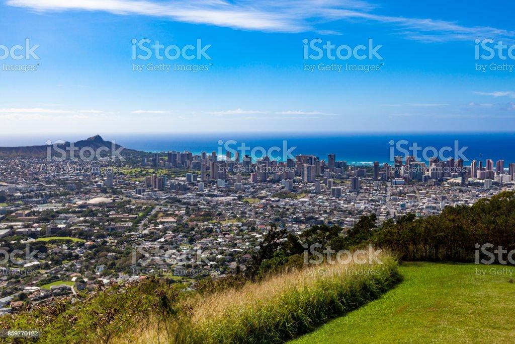 tantalus lookout over honolulu, oahu island, hawaii islands stock photo