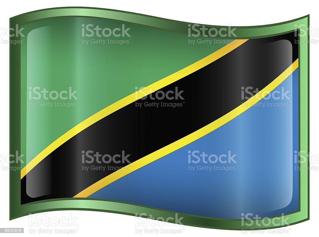 Tanzania Flag Icon, isolated on white background stock photo