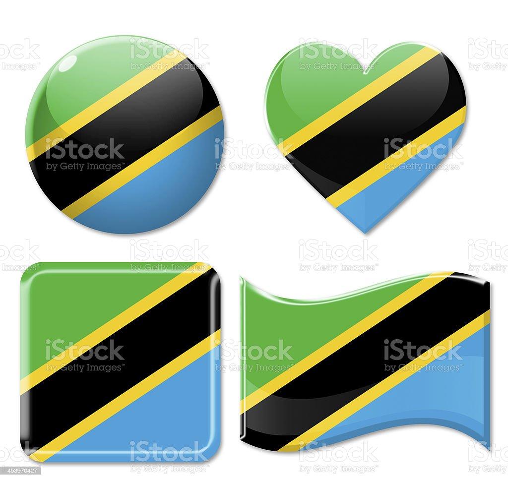 Tanzania Flags & Icon Set stock photo