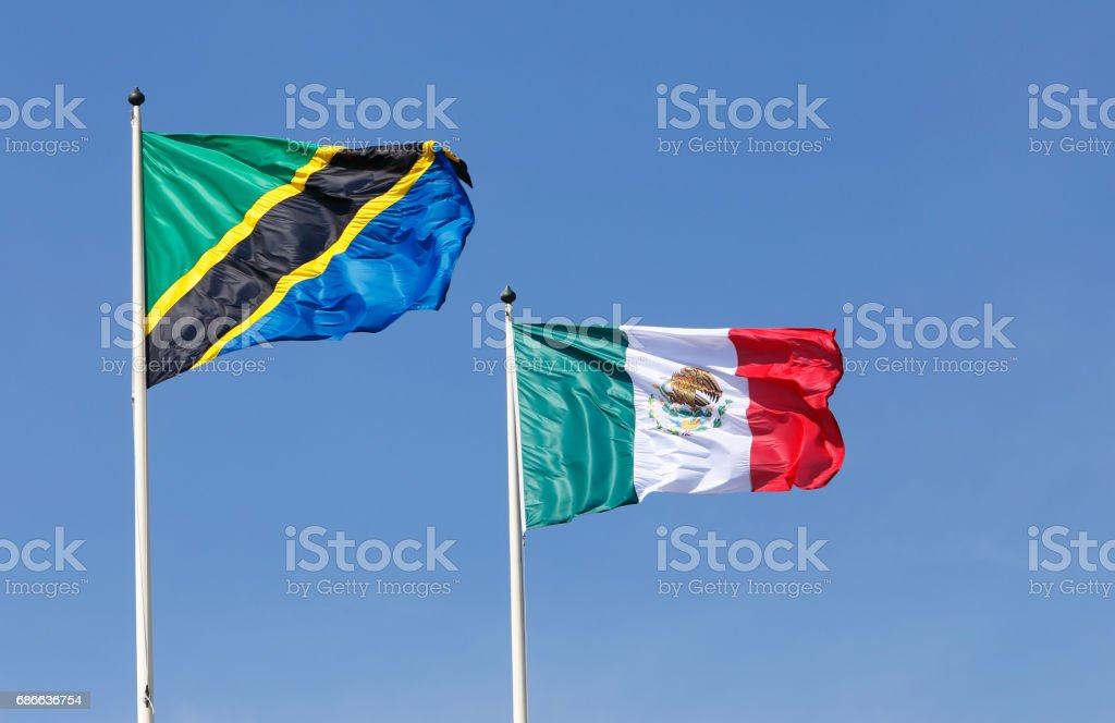 Tanzanian and Mexican flags foto de stock libre de derechos