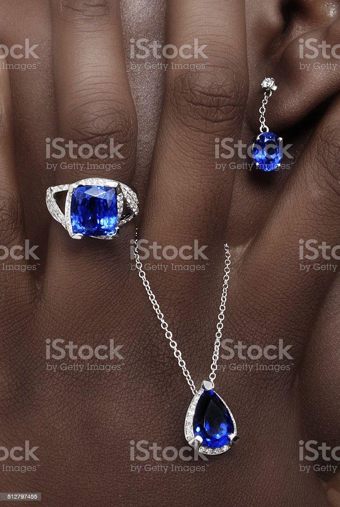 Tanzanite and Diamonds Designer Jewellery stock photo