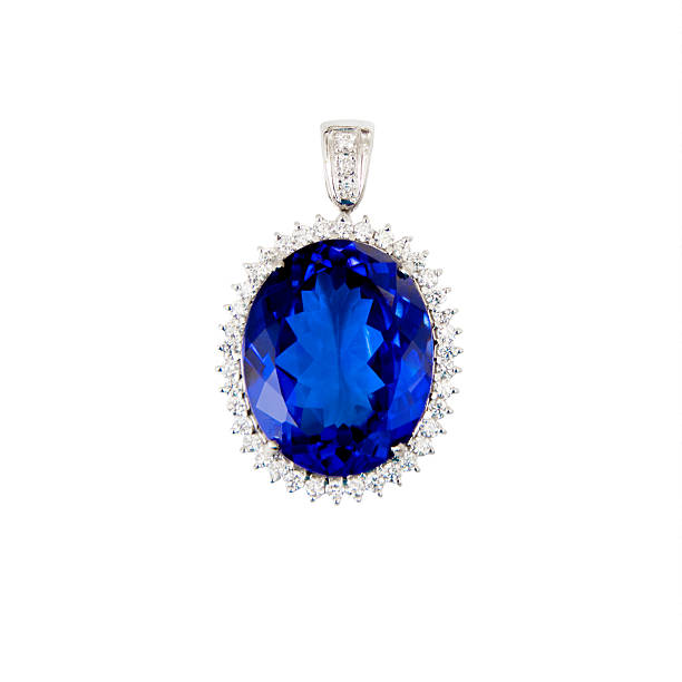tanzanite, blue gemstone, pendant, with diamonds - sapphire gemstone stock photos and pictures
