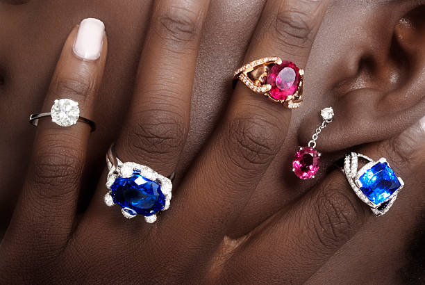 tanzanite, rubellite and diamonds, designer jewellery - sapphire gemstone stock photos and pictures