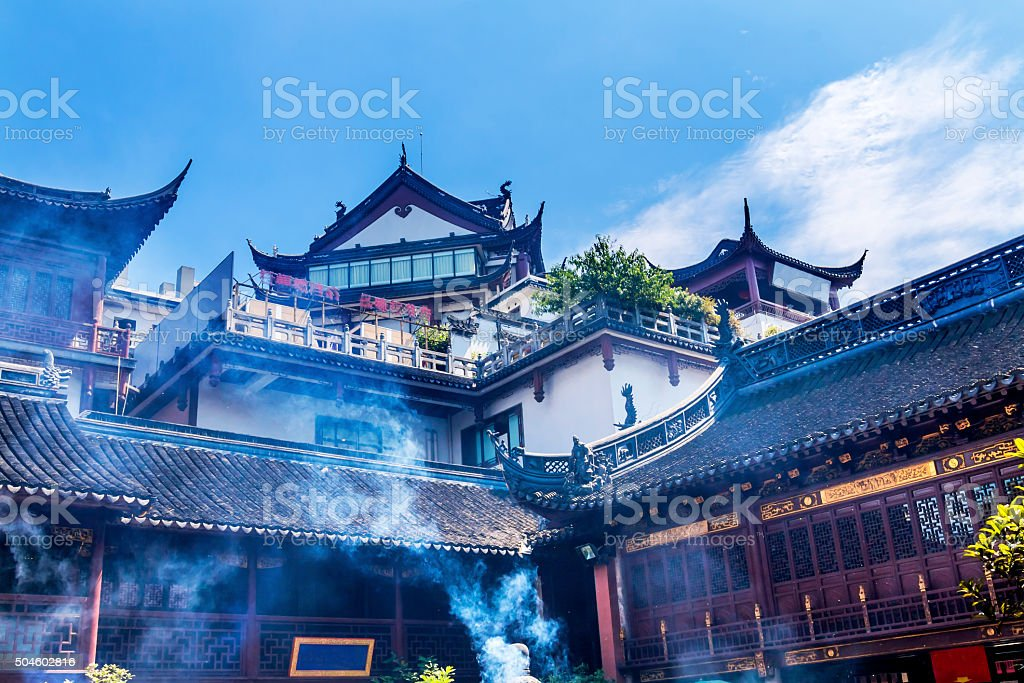 Taoist City God Temple Incense Smoke Roofs Yueyuan Shanghai China stock photo