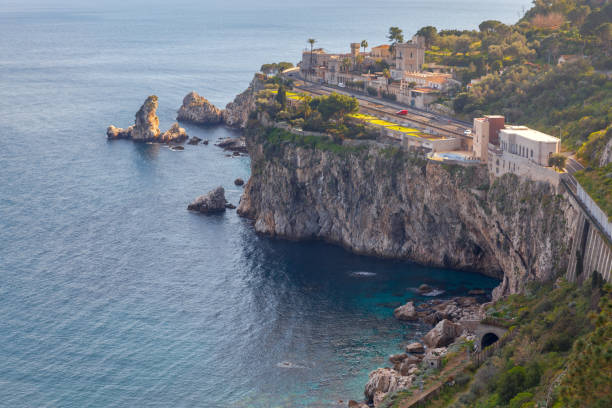 Taormina. Aerial view of the city. stock photo