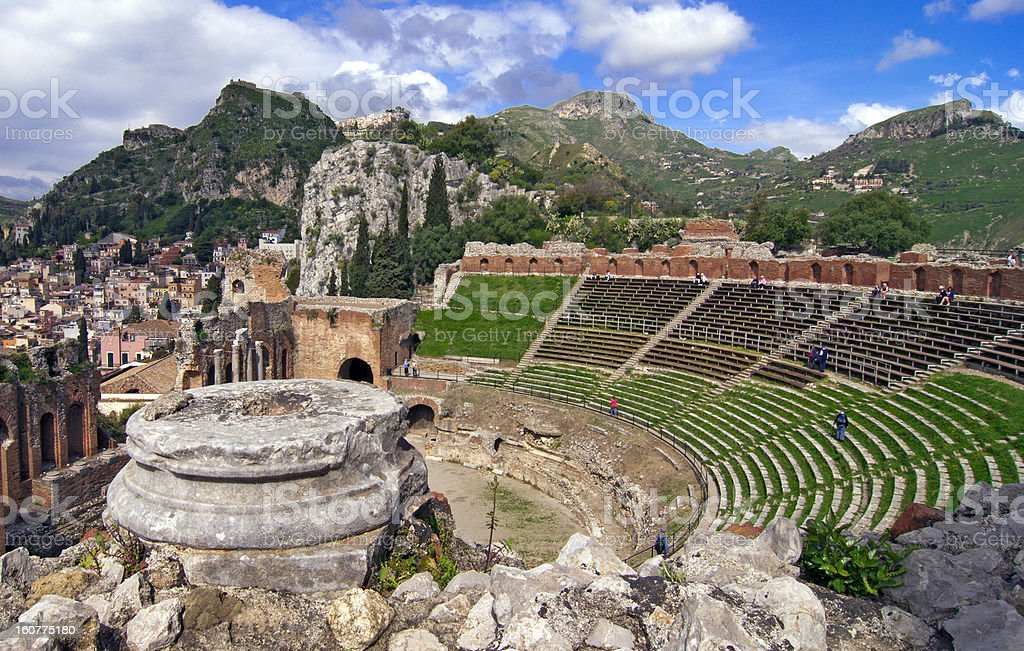 Taormina amphitheater stock photo