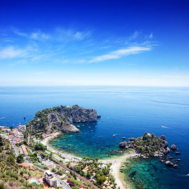 taormina beach, sicily - 陶爾米納 個照片及圖片檔
