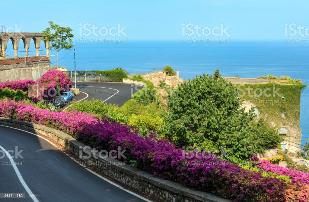 Taormina Stadt Blumen Szene, Sizilien, Italien – Foto