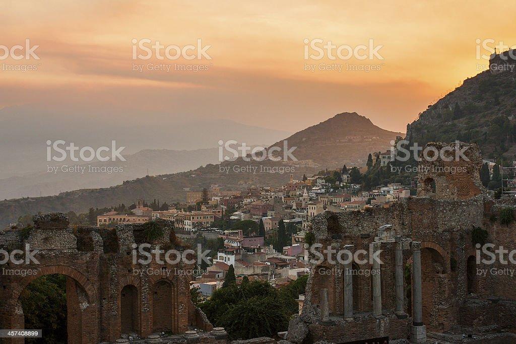 Taormina city stock photo