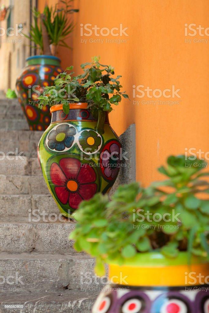 Taormina painted vases, Sicily, Italy royalty-free stock photo