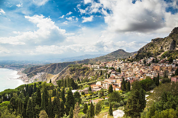 Taormina Typical landscape of Taormina village, Sicily. Italy. catania stock pictures, royalty-free photos & images