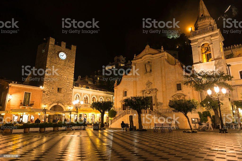 Taormina Sicily at night stock photo