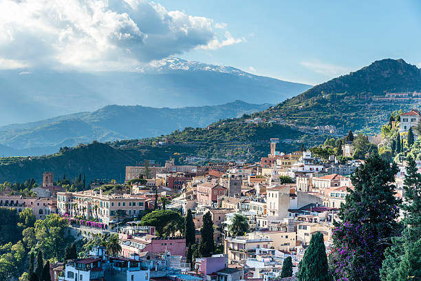Taormina. Sicily. Italy. Taormina. The town at the foot of Mount Etna in the sunlight. Sicily. Italy. catania stock pictures, royalty-free photos & images