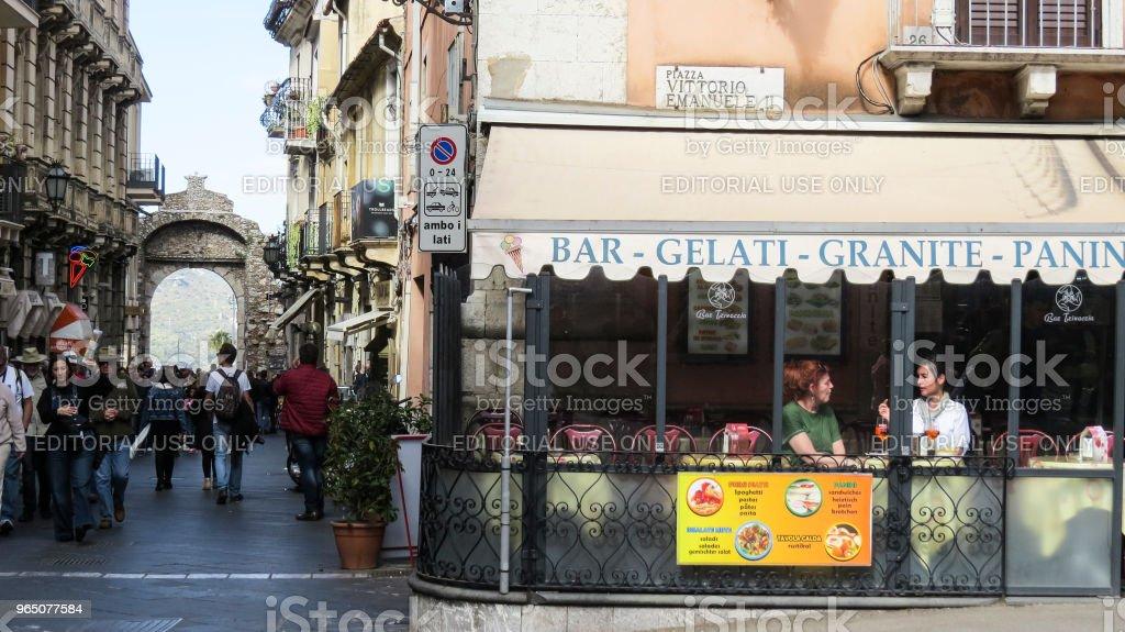 Taormina auf Sizilien, Italien - Lizenzfrei Architektur Stock-Foto
