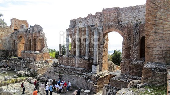 Taormina Sicily Italy Stock Photo & More Pictures of Amphitheater
