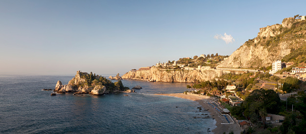 View of Isola Bella from above, Taormina Bay.  Sicily, Italy