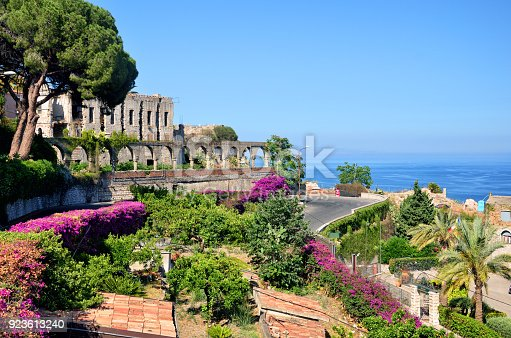 Taormina town with Mediterranean Sea on background