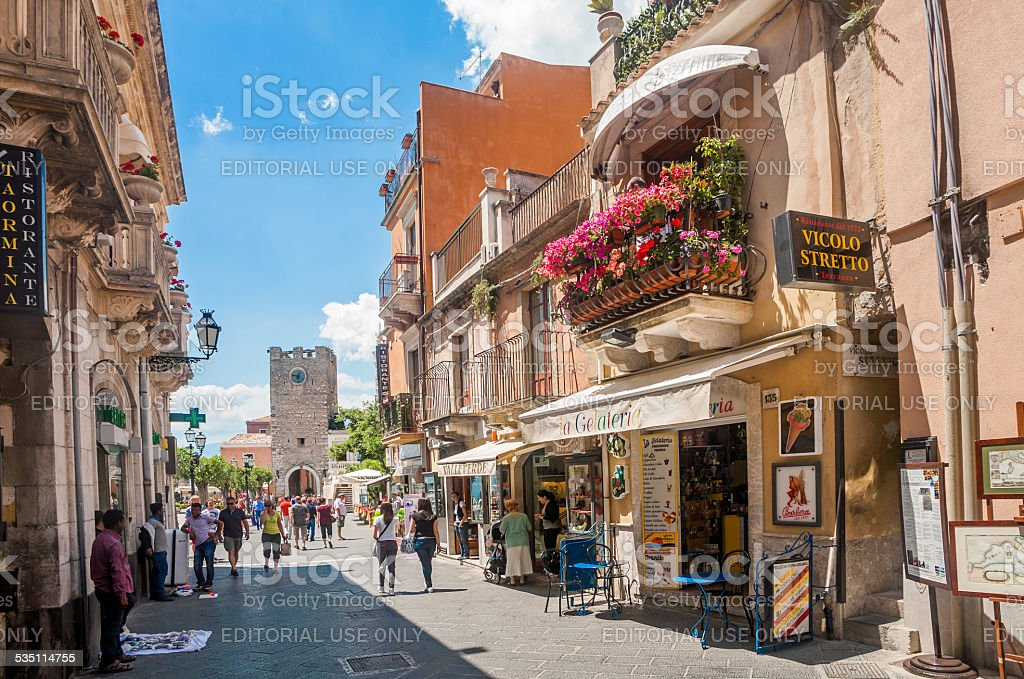 Taormina street stock photo