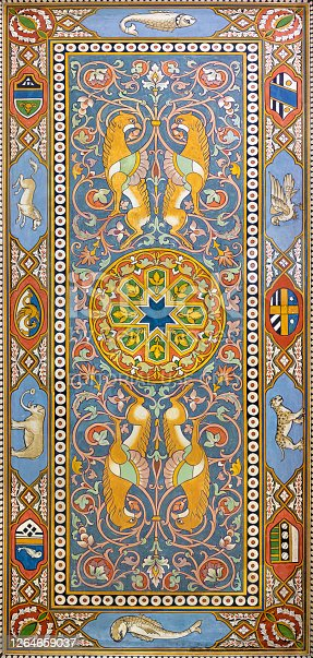 Taormina - The ceiling frescoes from hall of train station Giardini Naxos by Salvatore Gregorietti (end of 19. cent.).