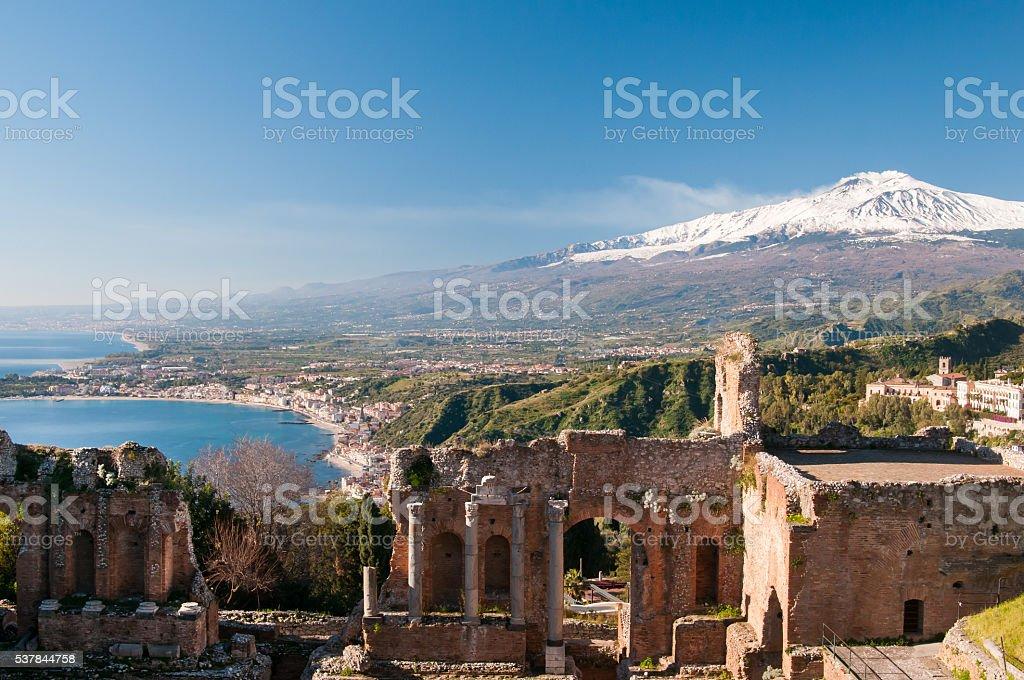 Taormina theater stock photo