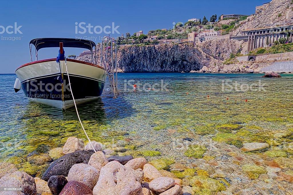 Taormina View (Boat) stock photo