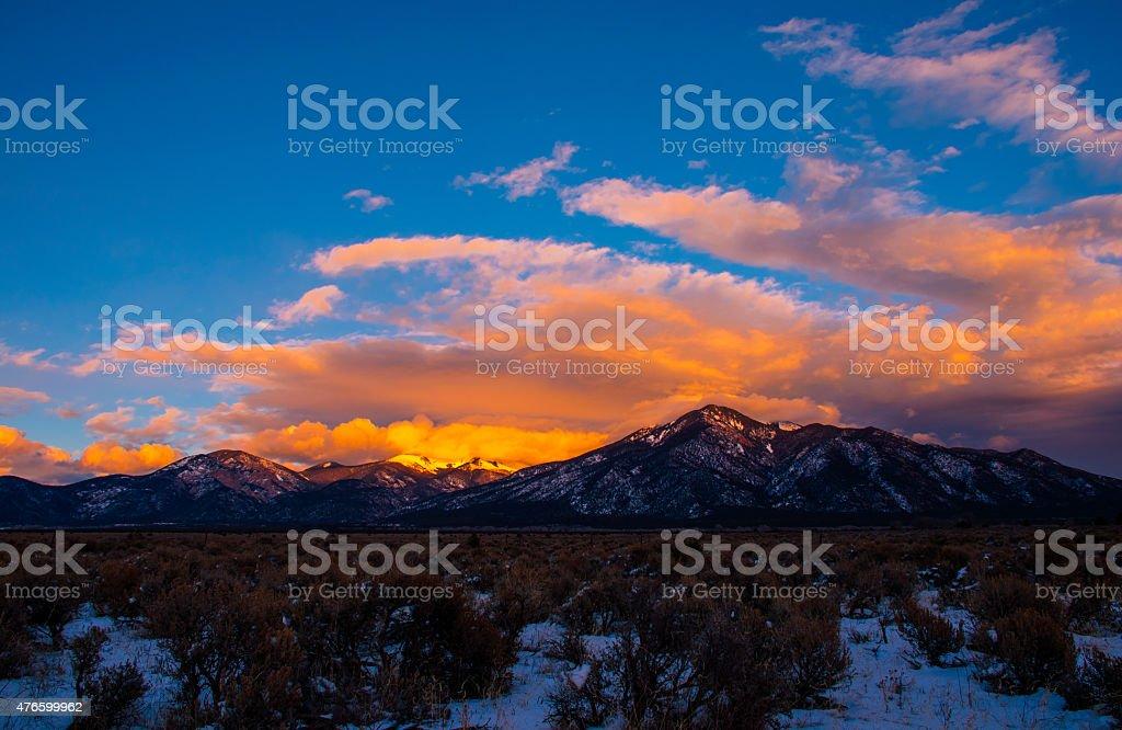 Taos New Mexico Sangre De Cristo Sunset of a lifetime stock photo