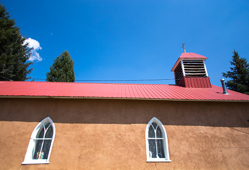Taos, NM: Adobe Chapel of Immaculate Conception Side View Windows