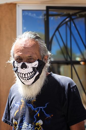 Taos, NM: Senior Man in Funny COVID Mask