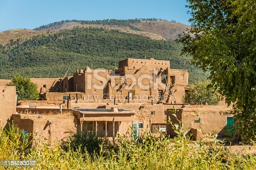 Adobe building in Taos Pueblo, New Mexico.