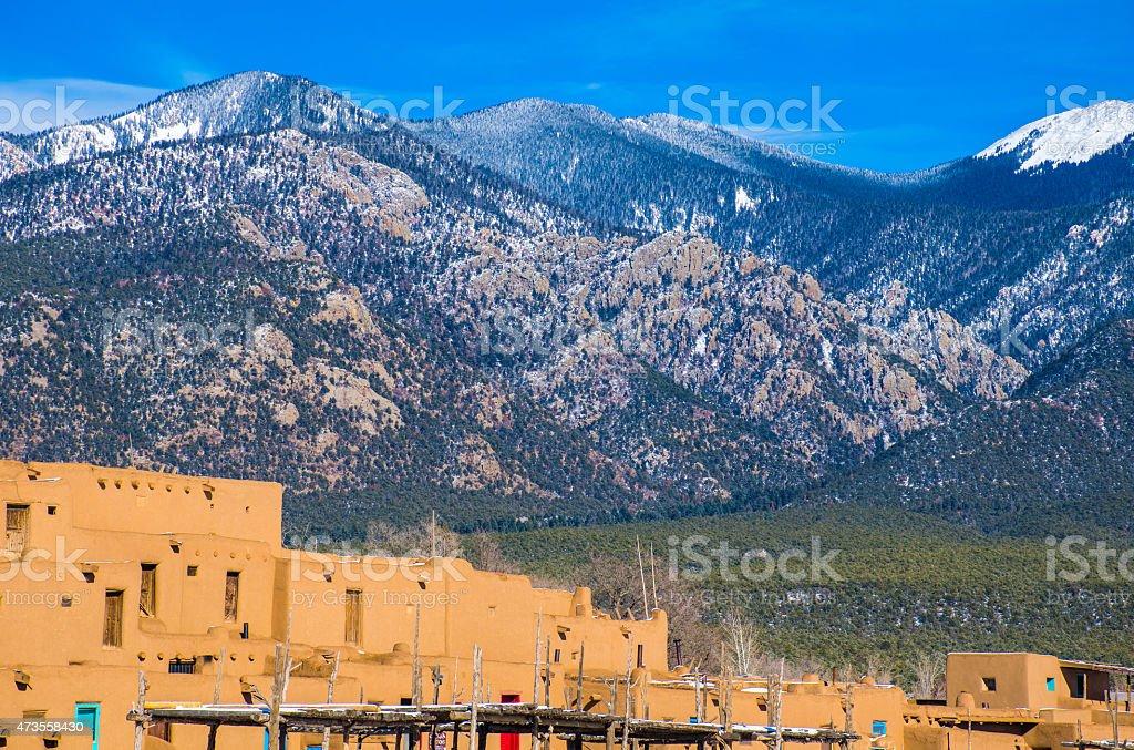 Taos Pueblo New Mexico Land of Enchantment stock photo