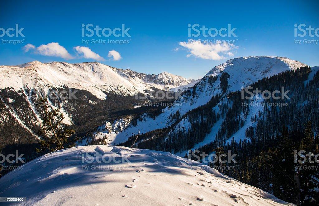 Taos Ski Valley Overlook Snow covered Kachina Peak Wheeler Peak stock photo