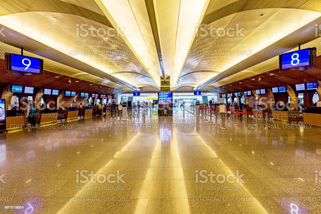 Taoyuan airport check-in desks stock photo