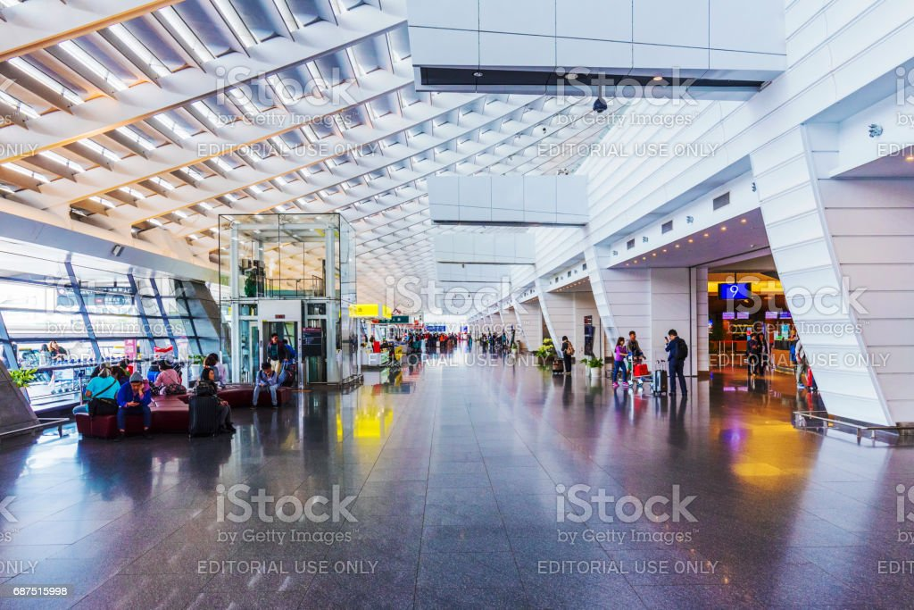 Taoyuan airport main entrance area stock photo
