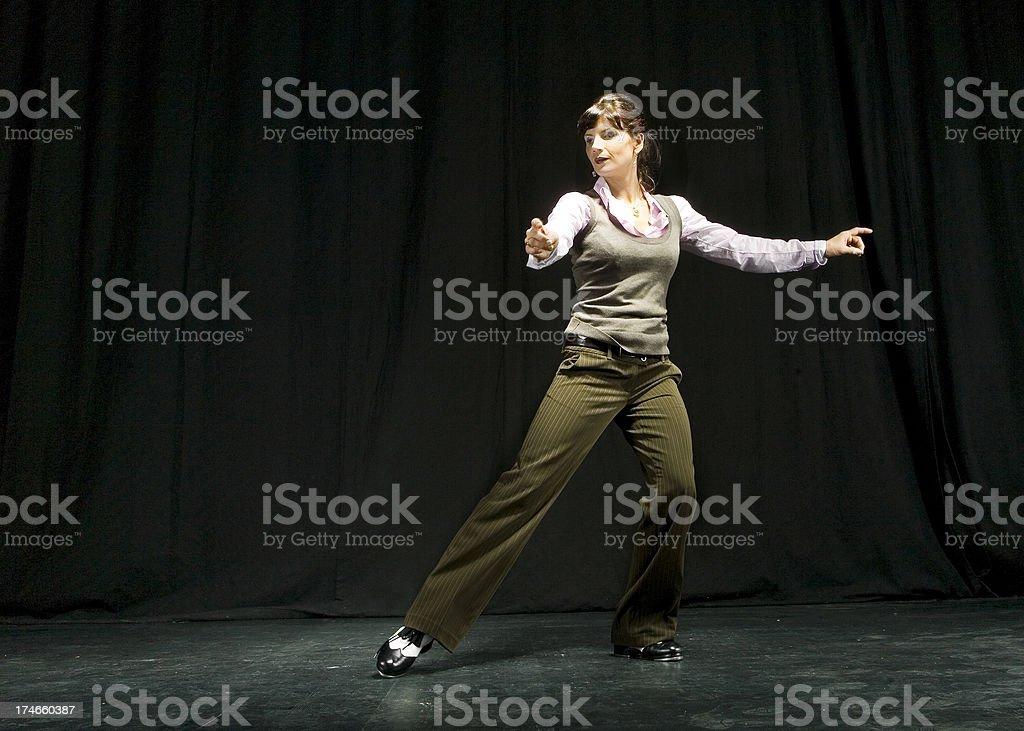 Tap dancing woman royalty-free stock photo