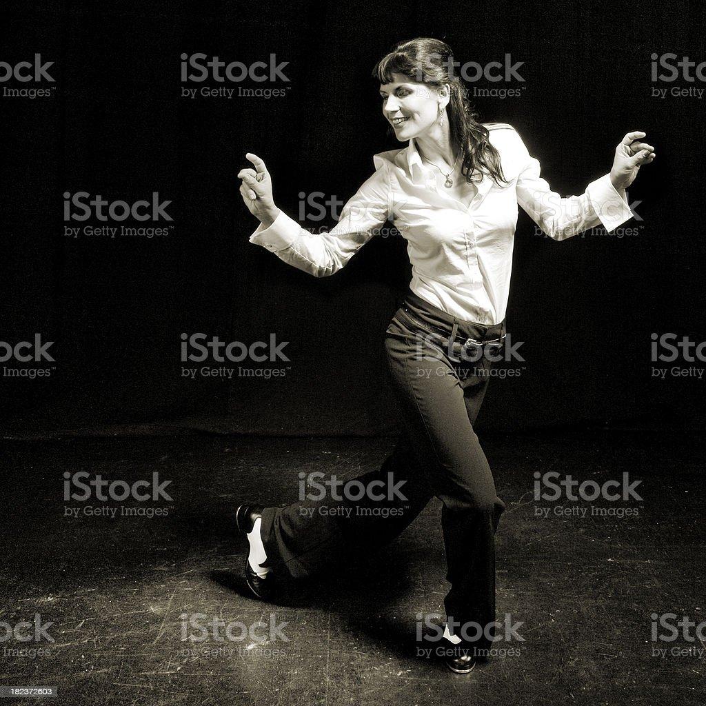 Tap dancing woman stock photo