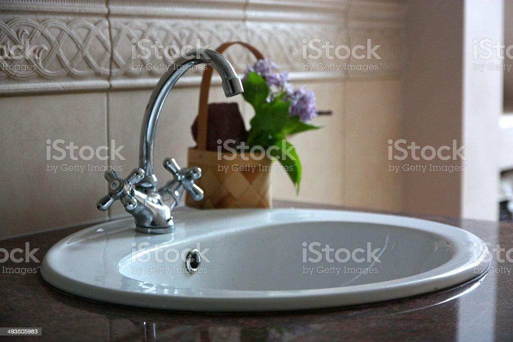Tap in the luxury bathroom stock photo