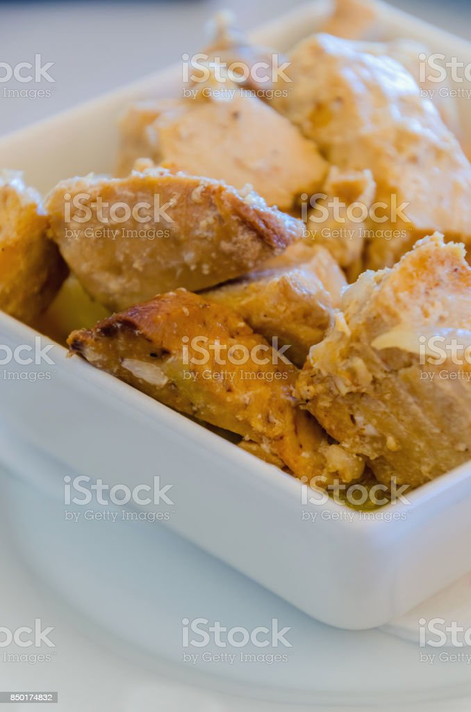 tapa of tuna fish cooked with onions atun encebollado stock photo