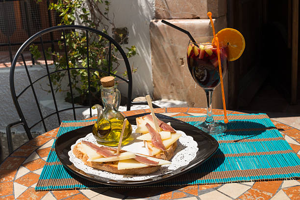 Tapa on sunny terrace stock photo