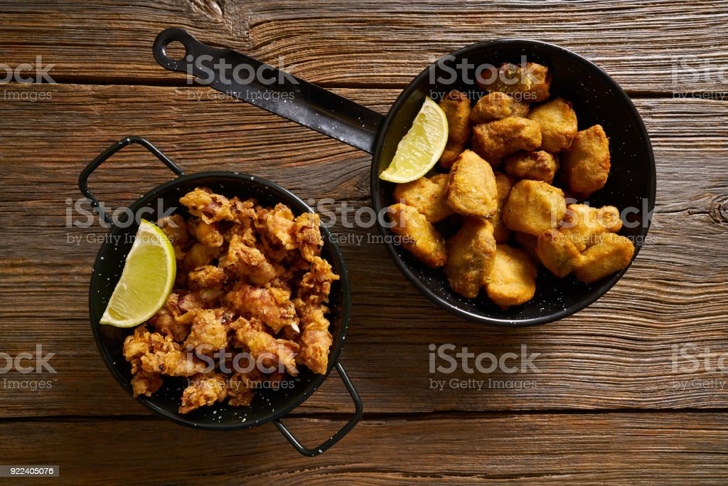 Tapas Adobo fried fish and puntilla squid breaded stock photo