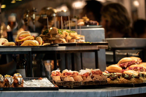 tapas and pinchos in a tapas bar in spain - vacations food stock pictures, royalty-free photos & images
