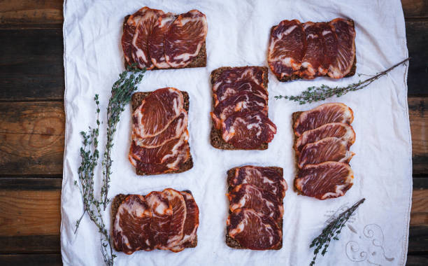 Tapas Dry aged pork lomo tenderloin stock photo