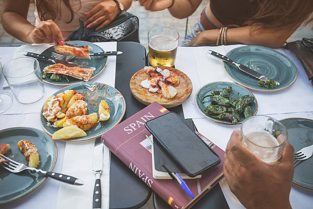 tapas in barcelona, spain - spanish food stock photos and pictures