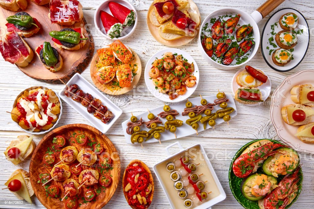 Tapas mix and pinchos food from Spain stock photo