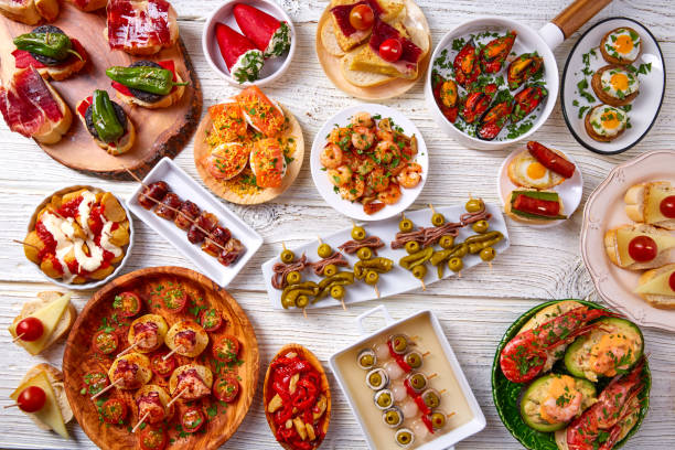 tapas mix and pinchos food from spain - spanish food stock photos and pictures