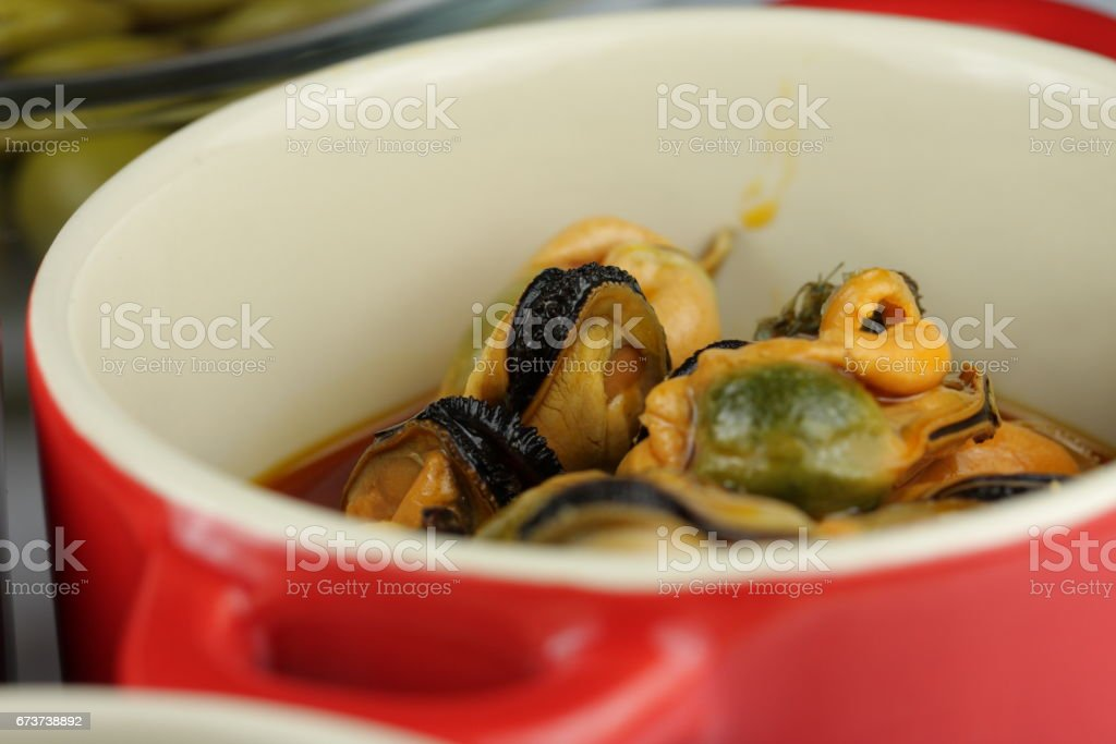 Tapas of mussels royalty-free stock photo