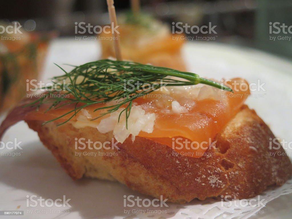 Tapas Pintxo Salmon dill crusty bread stock photo