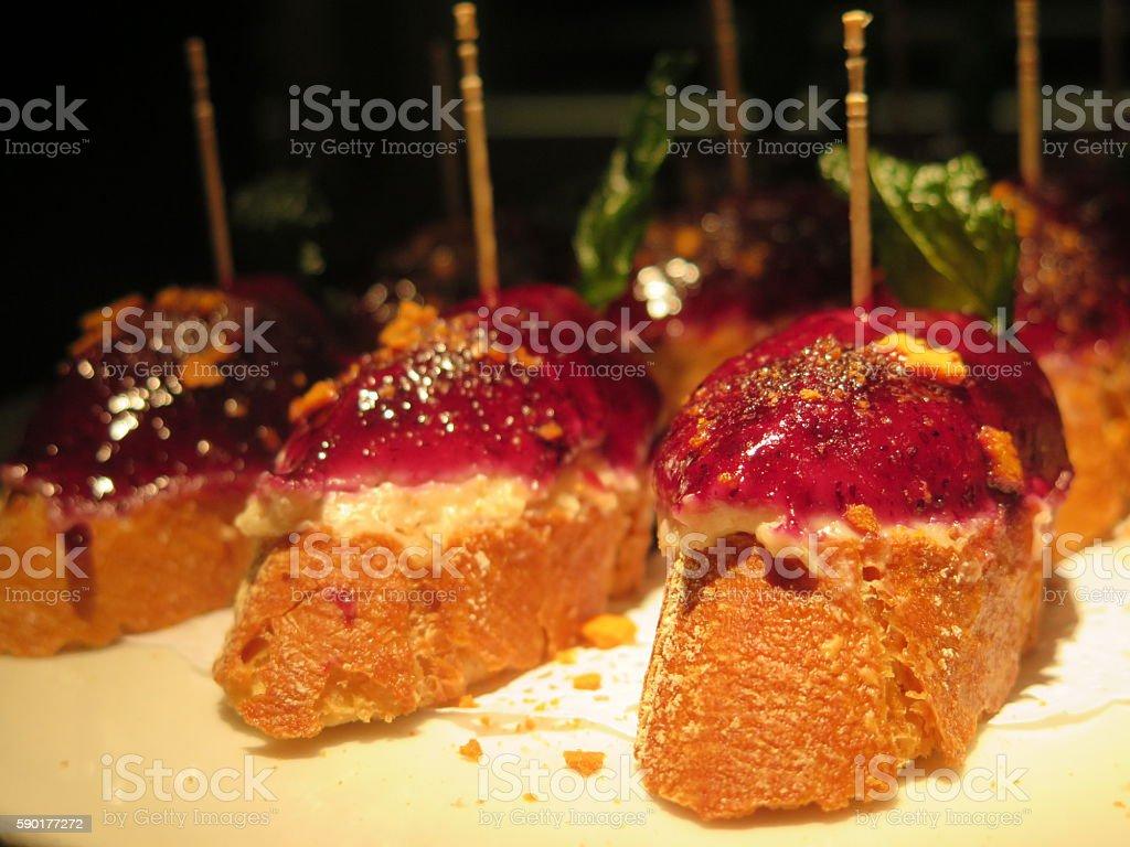 Tapas Pintxo Tuna rootbeet crusty bread stock photo